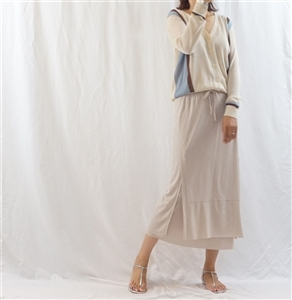 (Best; 2nd Reorder) Beige Double Skirt