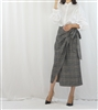 (Best; Back-Order) Navy Line Check Ribbon Skirt (will ship within 1~2 weeks)