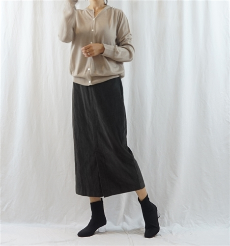 (Best; 3rd Reorder) Charcoal Corduroy Front Vent Skirt