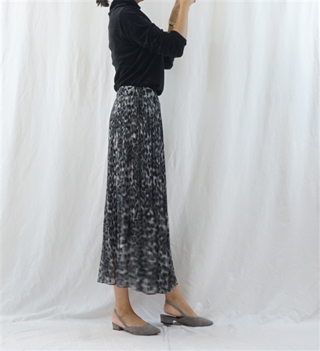 (Best; 2nd Reorder) Gray Pleated Leopard Skirt