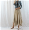 Beige Unbalanced Pleated Skirt (will ship within 1~2 weeks)