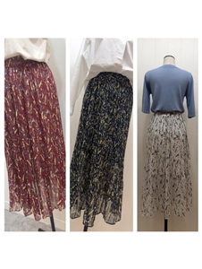 Flower Printed Skirt (White/Navy/WIne) (will ship within 1~2 weeks)