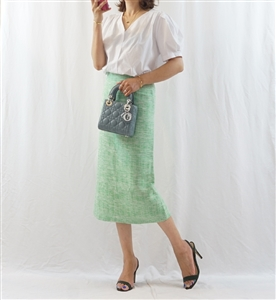 Green Tweed Skirt (S/M) (will ship within 1~2 weeks)