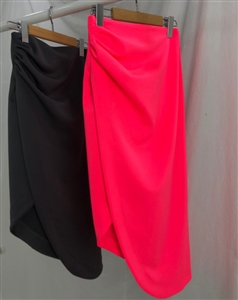 Unbal Wrap Skirt (Charcoal/Pink) (will ship within 1~2 weeks)