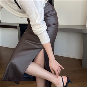 Balen Vegan Skirt (Black/Brown/Cream) (55/66) (will ship within 1~2 weeks)