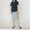 Navy Side Shirring Button T
