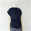 Navy Pintuck Detail T