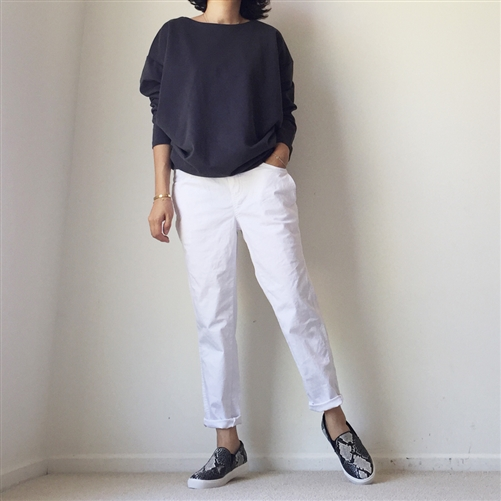 Charcoal Boat Neck Top