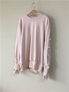 (Best; 2nd Reorder) PinkBeige Lace Pearl T