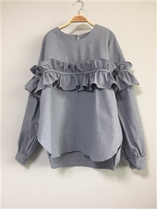 SkyBlue Luxe Frill Blouse (Cotton 100)