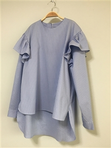 SkyBlue Stripe Shoulder Frill Cotton 100 Blouse