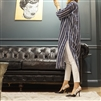 (Best; 2nd Reorder) Navy Stripe Stylish Long Shirt