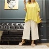 (Best; 2nd Reorder) Luxury Yellow Linen V Neck Blouse