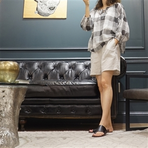 (Best; 2nd Reorder) Gray Check Blouse
