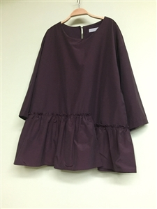 (Best; 3rd Reorder) Wine Unbalanced Frill Blouse