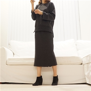 (Best; 2nd Reorder) Charcoal Top and Skirt Set