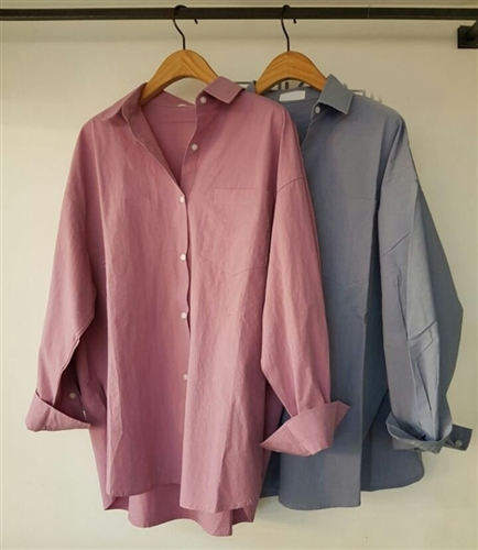 (Pre-Order) Pocket Shirt (Ivory/Pink/Gray/Blue) (will ship within 1~2 weeks)