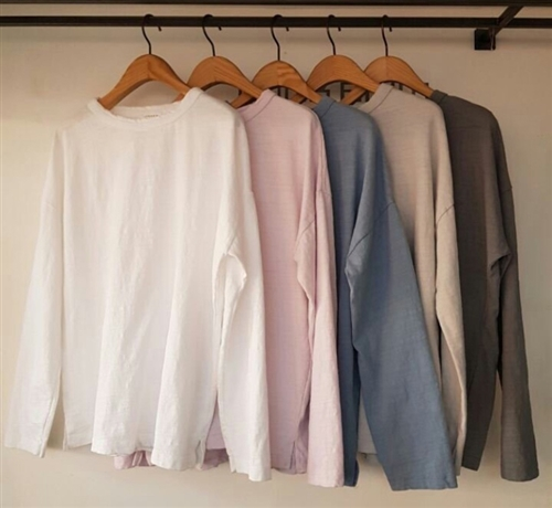 (Pre-Order) Clean Cotton Top (Ivory/Lavender/Blue/Beige/Charcoal) (will ship within 1~2 weeks)