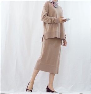 (Best; 3rd Reorder) Pinkish Beige Marant Knit Top and Skirt Set