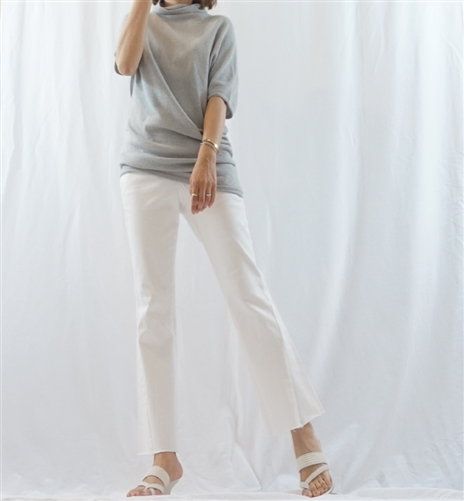 (Best; 3rd Reorder) Gray Cashmere Unbalanced Bottom Spring Turtle Knit