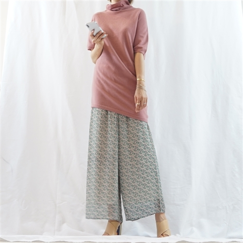 (Best; 3rd Reorder) Pink Cashmere Unbalanced Bottom Spring Turtle Knit