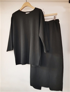(Pre-Order) Black Good Cotton Top and Skirt Set (will ship within 1~2 weeks)