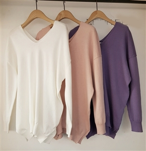 (Pre-Order) Clean V Neck Knit (Ivory/Pink/Purple/Olive/Beige) (will ship within 1~2 weeks)
