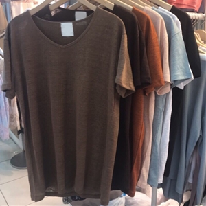 (Pre-Order) Linen 100% V Neck Top (Brown/DarkBrown/Camel/Pink/SkyBlue/Ivory/Black) (will ship within 1~2 weeks)