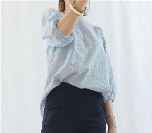 (Best; 2nd Reorder) SkyBlue Punching Lace Blouse