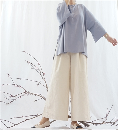 (Best; 3rd Reorder) Lavender Wide Sleeves Soft Cotton 100 Daily Top