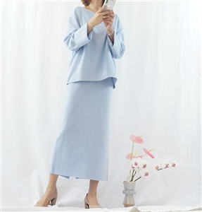 (Best; 2nd Reorder) SkyBlue Top and Skirt Set