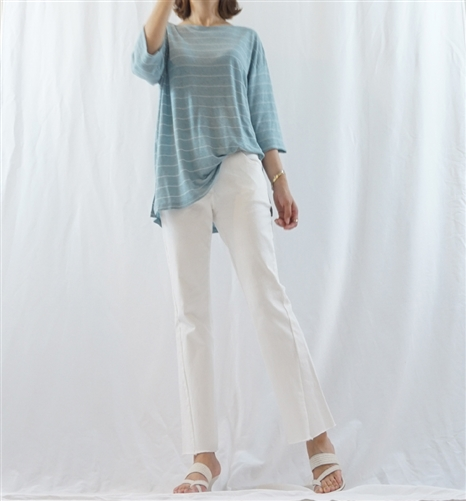 (Best; 2nd Reorder) SkyBlue Marine Linen Top