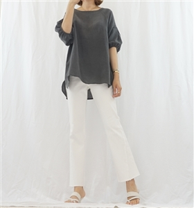 (Best; 2nd Reorder) Charcoal Puff Sleeve Top