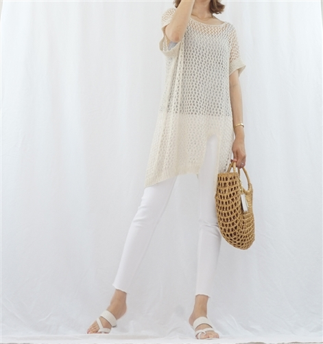 (BeachDaySpecial; Best; 2nd Reorder) Beige Both Side Vent Summer Knit