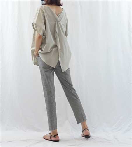 (Best; 2nd Reorder) Beige Twisted Back Open Blouse