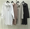 (Pre-Order) Side Button Shirt Dress (Beige/Charcoal/Ivory/Pink) (will ship within 1~2 weeks)