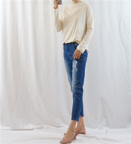 (Best; 3rd Reorder) Ivory Basic Half Turtle Neck Clean Top