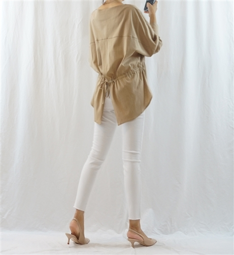 (Best; 4th Reorder) Beige Back Tied Blouse