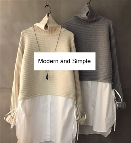 (2nd Event ~01/21) Shirt Layered Knit (Beige/Gray) (will ship within 1~2 weeks)