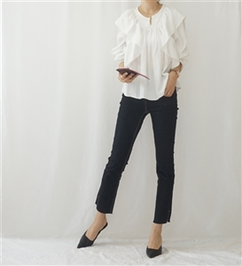 (~02/10) Marant Ruffle Blouse (Ivory/Black) (will ship within 1~2 weeks)