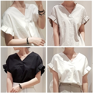 (2020 Version) Dio Linen Blouse (Beige/Black/Ivory) (will ship within 1~2 weeks)