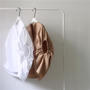 Toteme Shirring Oversized Blouse (Beige/White) (will ship within 1~2 weeks)