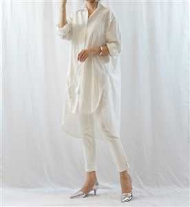 Ivory Stripe Side Button Oversized Shirt Dress (will ship within 1~2 weeks)