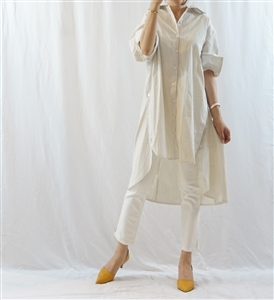 Beige Stripe Side Button Oversized Shirt Dress (will ship within 1~2 weeks)