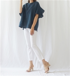 Celi Linen Blouse (Pink/Navy) (will ship within 1~2 weeks)