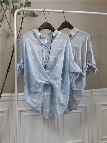 Front Twisted Blouse (Gray/Sky) (will ship within 1~2 weeks)