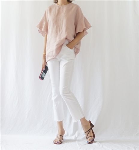 Pink Celi Linen Blouse (Pink/Navy) (will ship within 1~2 weeks)