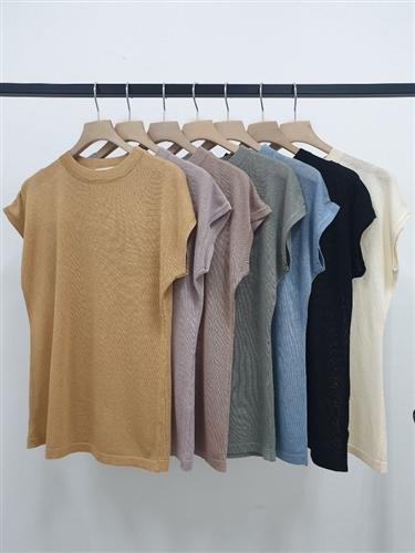 Must Have Cap Sleeve Knit (Khaki/Black/Ivory/Camel/Pink/Sky/Beige) (will ship within 1~2 weeks)