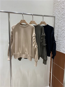 Sleeve Shirring MTM (Beige/Khaki/Black) (will ship within 1~2 weeks)