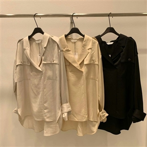 Pocket Blouse (Ivory/Yellow/Black) (will ship within 1~2 weeks)